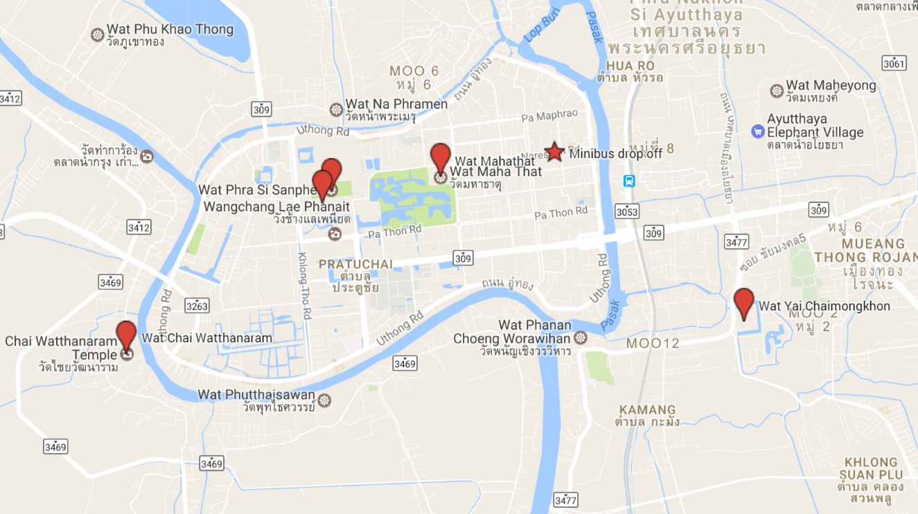 Our route in Ayutthaya