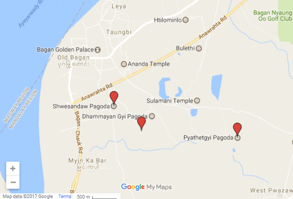 Map of Best Bagan Sunset temples