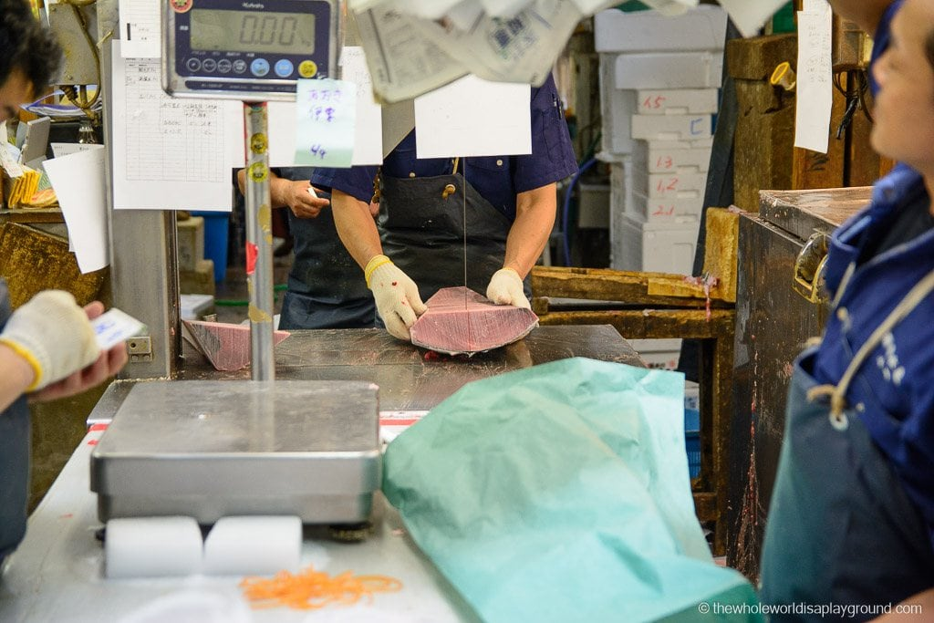 The Tuna being cut up for restaurants