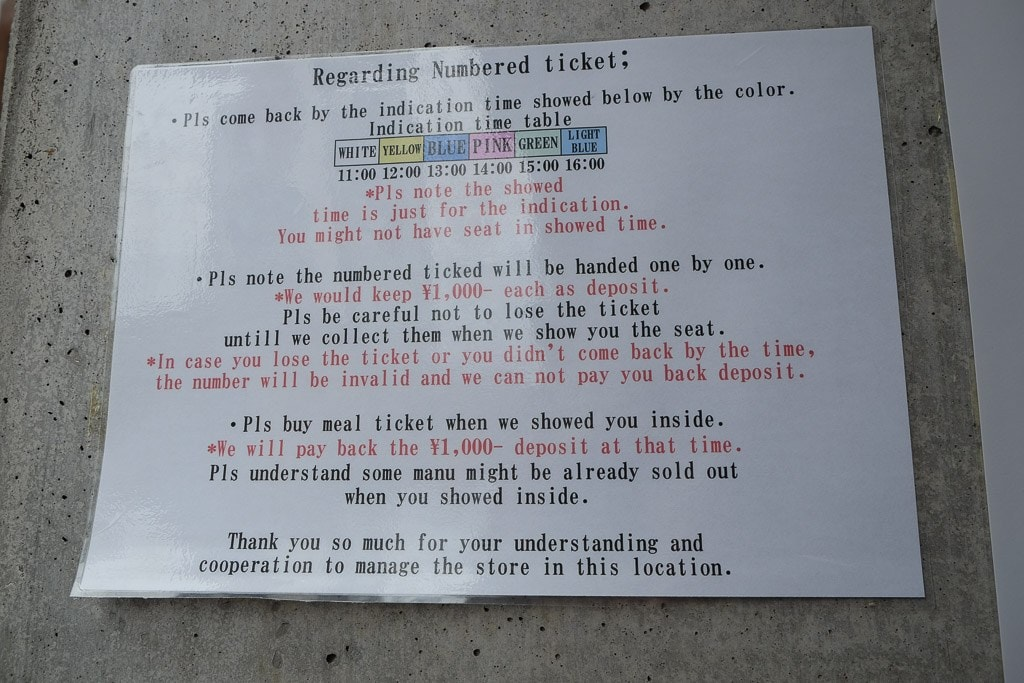 Ticket information on the door