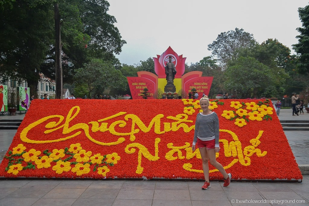 Your flowers match my shorts! Colourful Hanoi!
