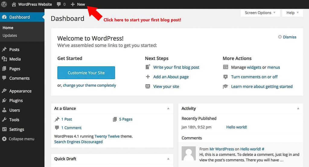 How to Setup Blog 7-Wordpress-Wordpress dashboard