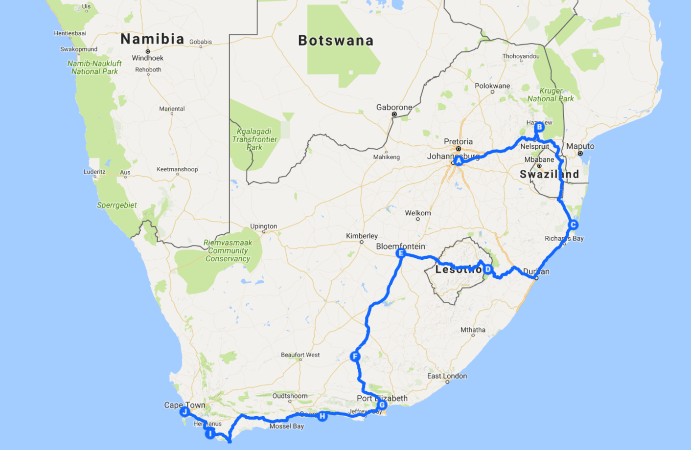 South Africa Road Trip Route