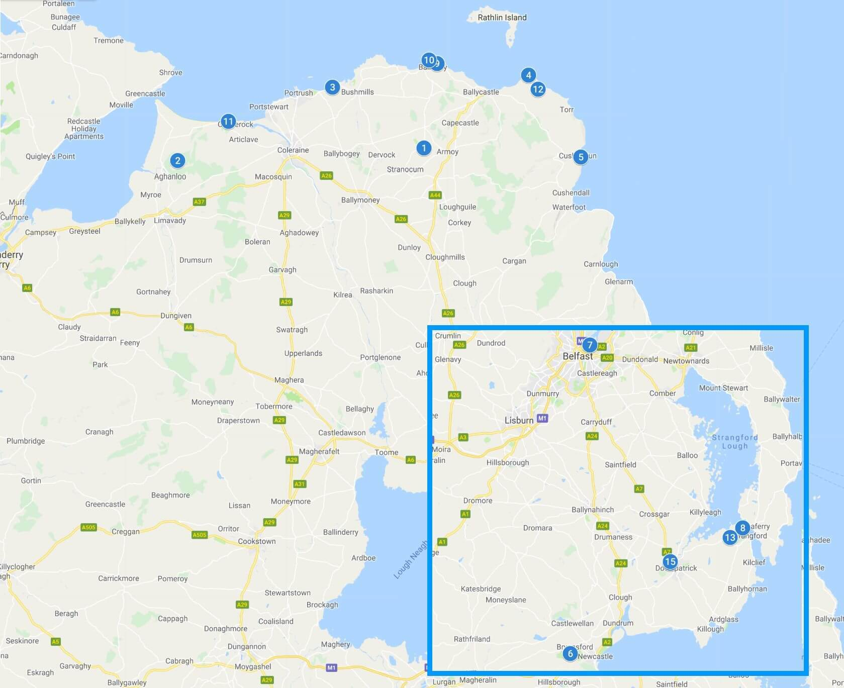 Map of Game of Thrones Filming Locations in Ireland