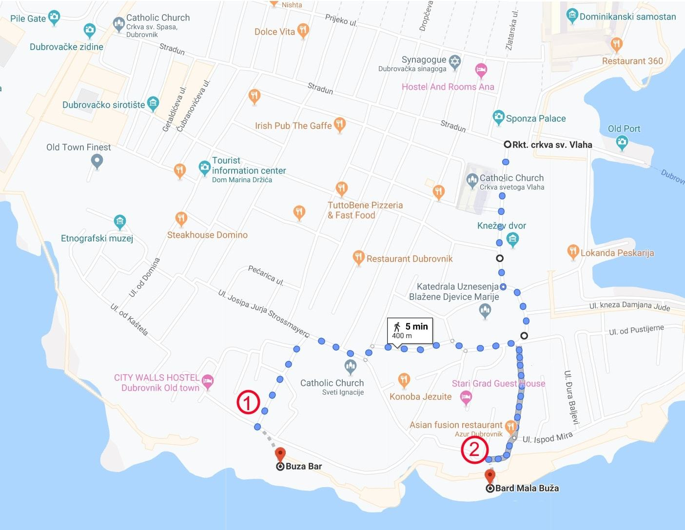 map of how to get to buza bar dubrovnik