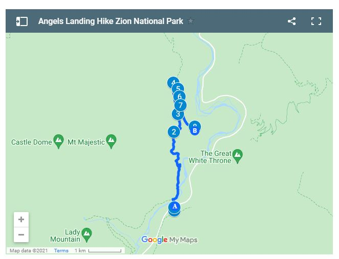 Angels Landing Hike Route Zion National Park