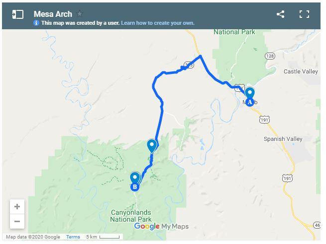 Map of Mesa Arch Utah