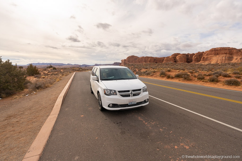 Car in Arches National Park