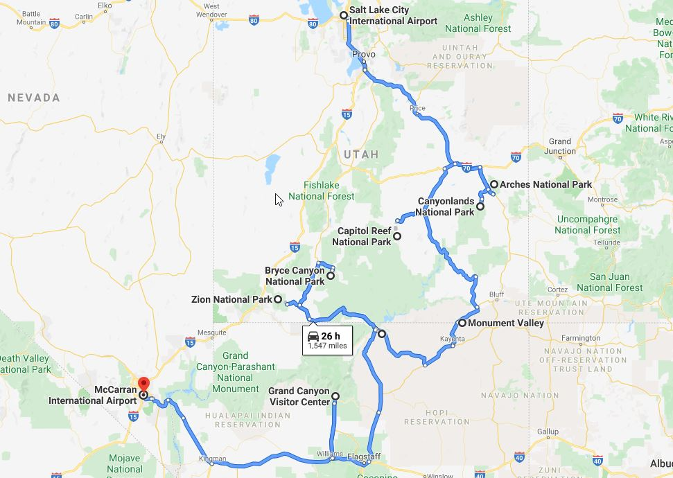 Utah National Parks Road Trip Route 14 days