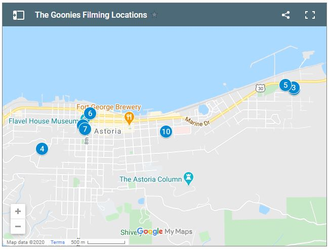 Map of The Goonies Filming Locations