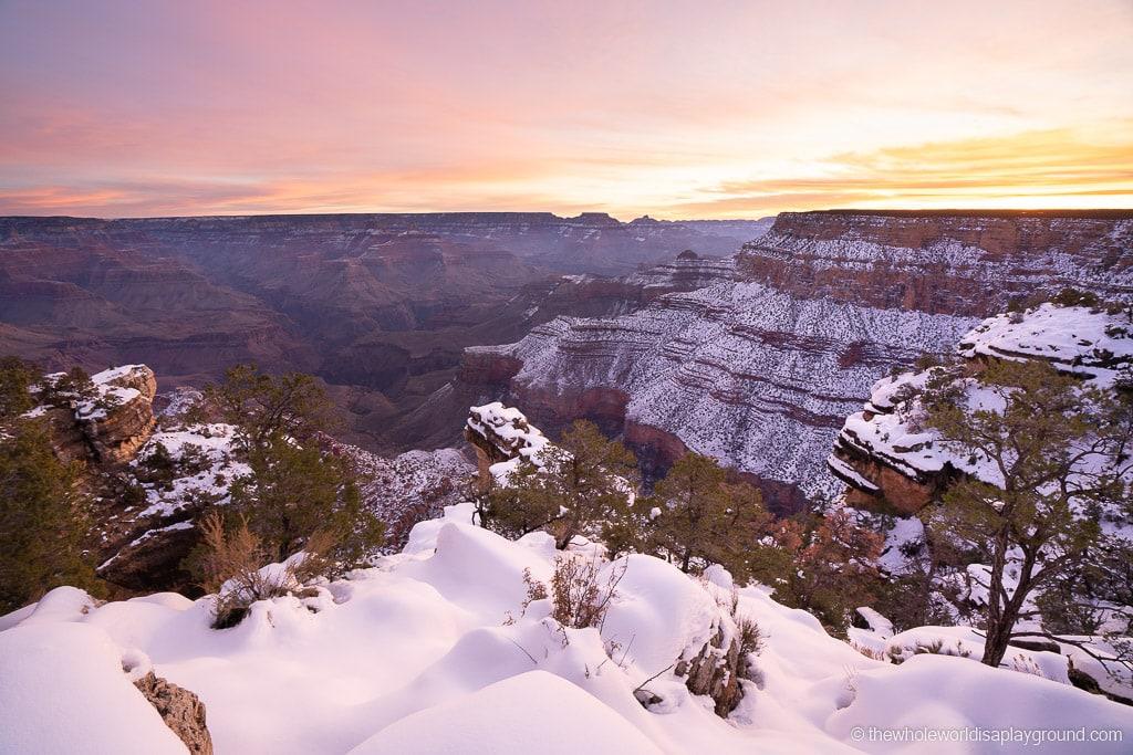 Grand Canyon Rim Hike snow sunrise