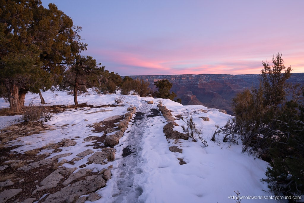 Rim Trail Sunrise snow at Grand Canyon