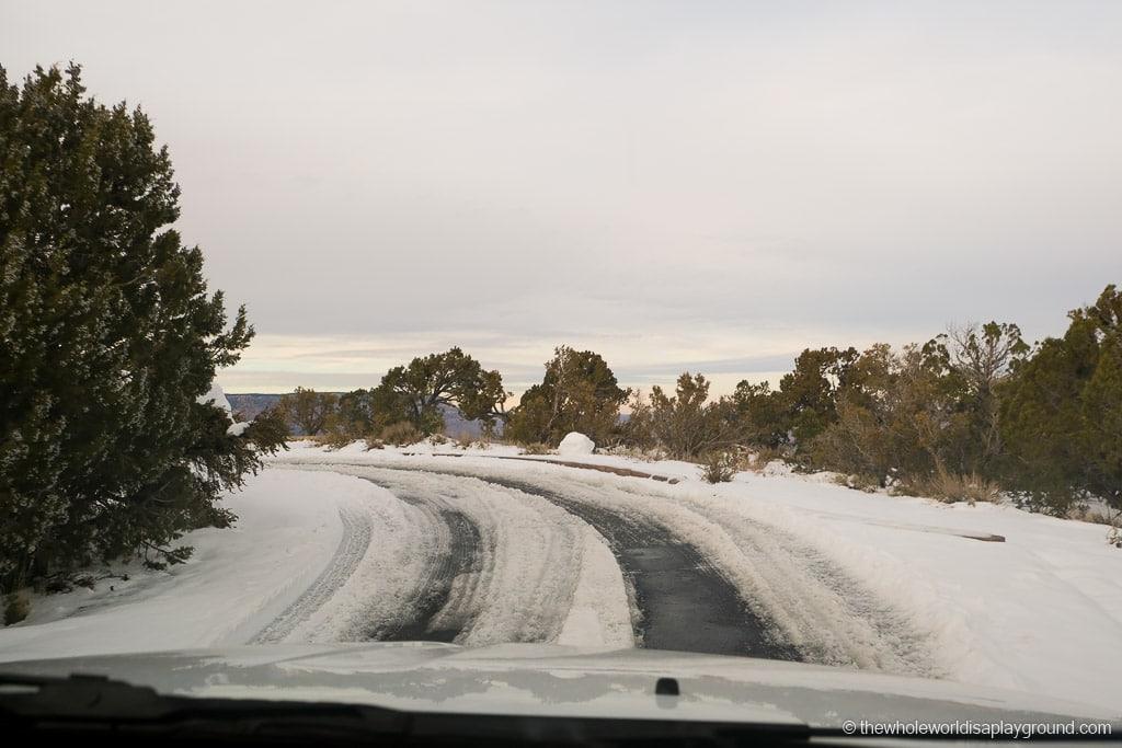 Grand Canyon snow road