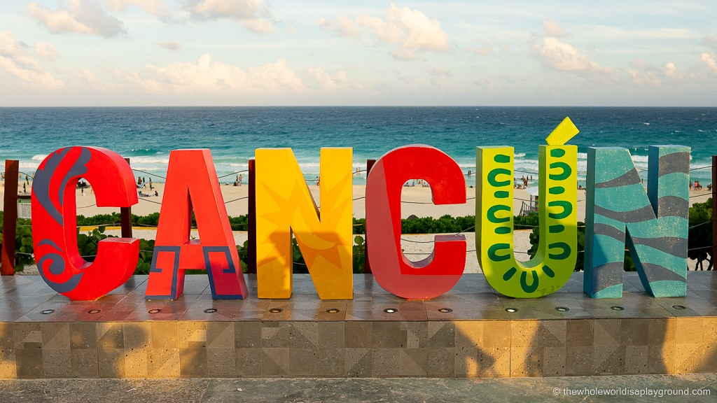 Cancun sign Playa Delfines